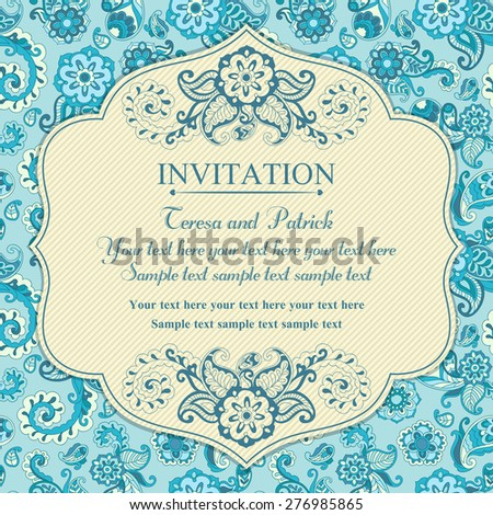 Invitation in pastel east turkish style, blue