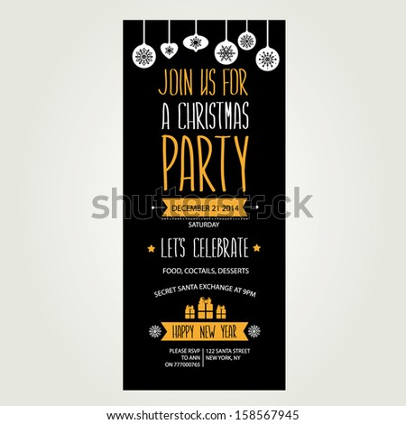 Invitation Merry Christmas.Typography.Vector illustration. - stock vector