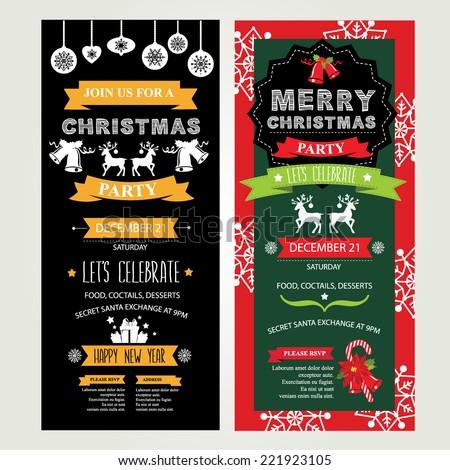 Invitation Merry Christmas. Vector illustration. - stock vector