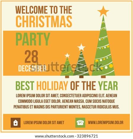 Invitation Merry Christmas.Vector illustration. - stock vector