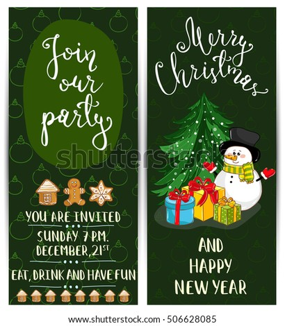 Invitation on Christmas party layout. Christmas tree and Christmas snowman cartoon vectors.