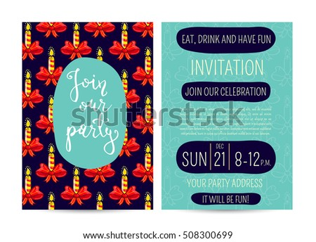 Invitation on Christmas party with date, time and address. Inflamed stripped candles on ribbon bow cartoon vectors.