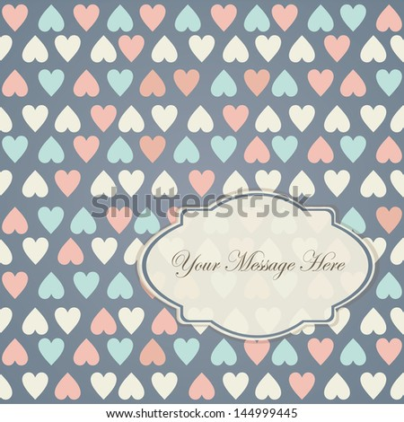 invitation on retro seamless pattern with colorful hearts