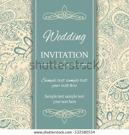 Invitation Card Template Decorative Paisley Background Stock Photo - Luxury birthday invitation card template design
