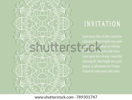 Invitation Card Templates Set Lace Border Stock Vector 789301747 ...