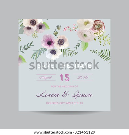 Invitation or Greeting Card - for Wedding, Baby Shower - in vector