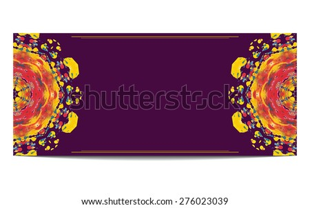 Invitation or greeting card with half circle ethnic ornament on purple background