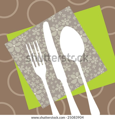 Invitation or menu card for a restaurant with silhouette cutlery on napkins and retro tablecloth - stock vector