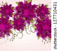 Invitation or wedding card with abstract floral background. - stock
