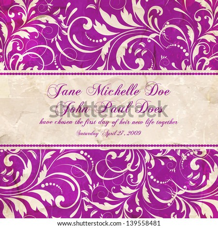 Invitation or wedding card with abstract floral background. - stock vector