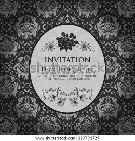 Invitation or wedding card with damask background and elegant floral elements. Black and white. eps10 - stock vector