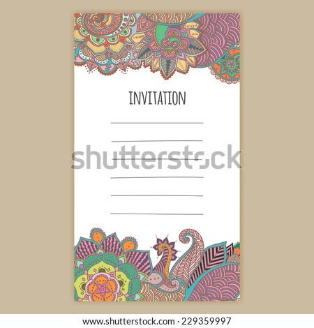 Invitation post card birthday card hand drawn stock photo photo invitation post card birthday card with hand drawn abstract henna mehndi flowers and stopboris Gallery