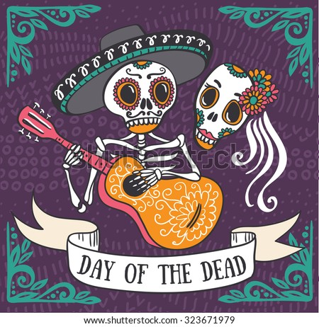 Invitation poster to the Day of the dead party. Dea de los muertos card. - stock vector