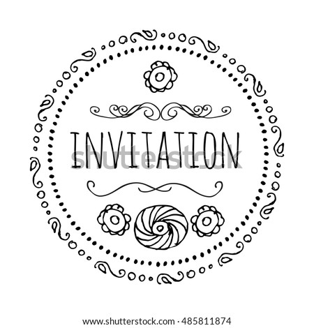 Invitation round frame style bo ho template stock vector hd royalty invitation round frame in the style of bo ho a template for creating stopboris Image collections