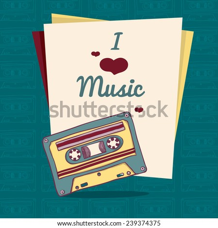 Invitation template or poster in retro style with retro audio cassette. Place for your text. vector - stock vector