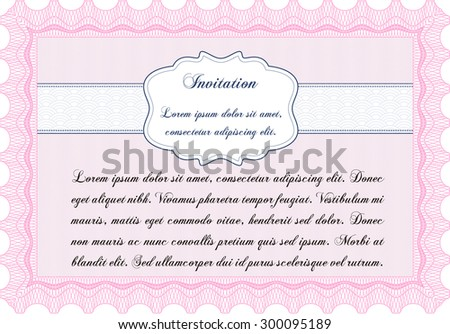 Invitation template. Vector illustration.With background. Complex design.