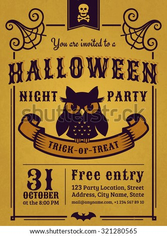 Invitation to Halloween night party. Vintage card with gloomy owl on gold background. Vector template. - stock vector