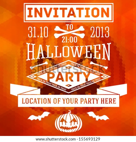 Invitation to halloween party with bats, bones and pumpkins. With place for your text of party location. On the hexagonal and triangle background with halloween pumpkin. Vector  - stock vector