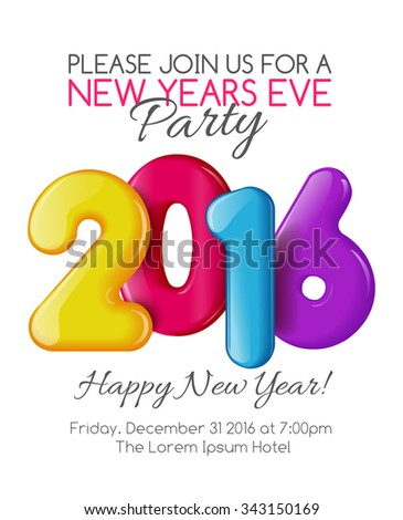 Invitation to the party of the year. Holiday card dedicated to the Christmas and New Year 2016. 3D numbers yellow, red, blue and purple colors, on a white background. Vector illustration - stock vector