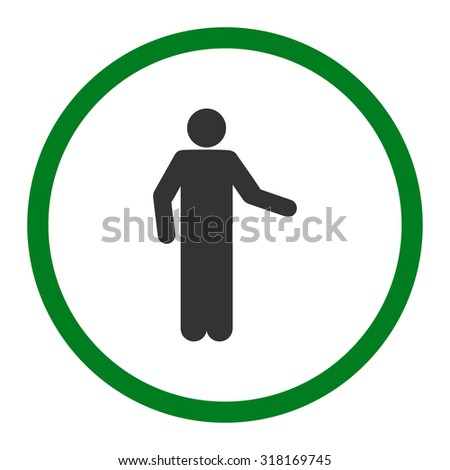 Invitation vector icon. This rounded flat symbol is drawn with green and gray colors on a white background.