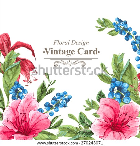 Invitation Vintage Card with Blueberries, Pink Tropical Flowers and Leaves, Watercolor Vector Illustration. - stock vector