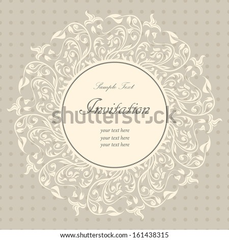 Invitation vintage card with floral pattern - stock vector