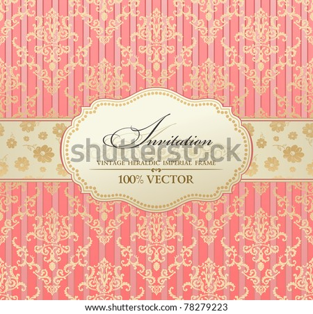 invitation vintage label vector frame pink pastel - stock vector