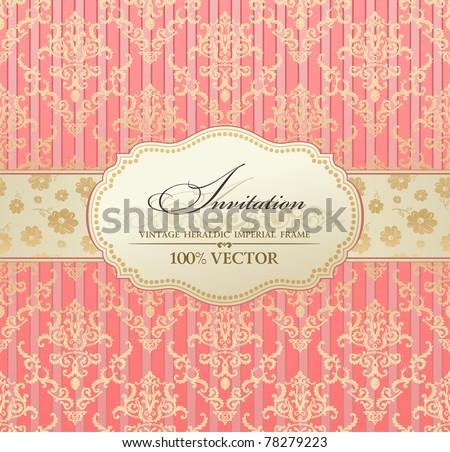Invitation vintage label vector frame pink pastel. Blank frame and label Vintage sticker emblem. Vector illustration - stock vector