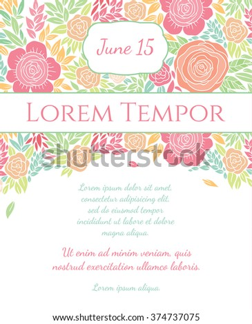 Invitation wedding card with current trendy flowers vector template
