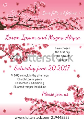 Invitation wedding card with sakura blossom vector template. You can use it for invitations, flyers, postcards, cards and so on - stock vector