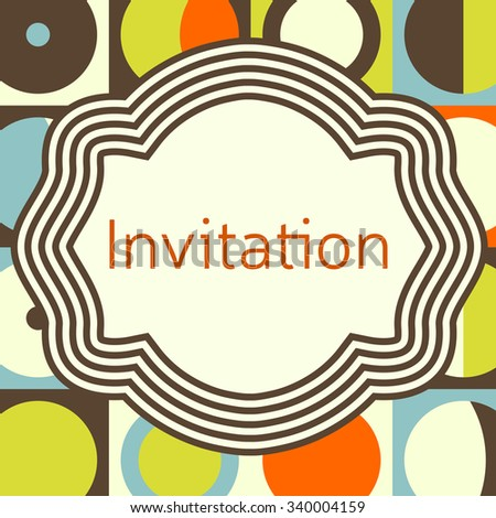 Invitation, wedding or greeting card template. Elegant frame over pattern background design. Clipping mask applied in EPS to hide bleed area. Print size 145 x 145 mm - stock vector