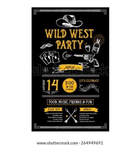 Invitation wild west party flyer.Typography and design. - stock vector