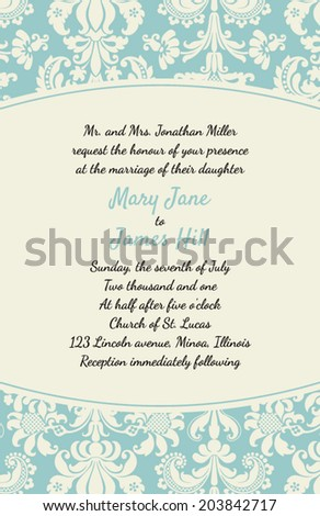 Invitation rich background renaissance style template stock vector invitation with a rich background in renaissance style template framework wedding invitations or announcements with stopboris Choice Image