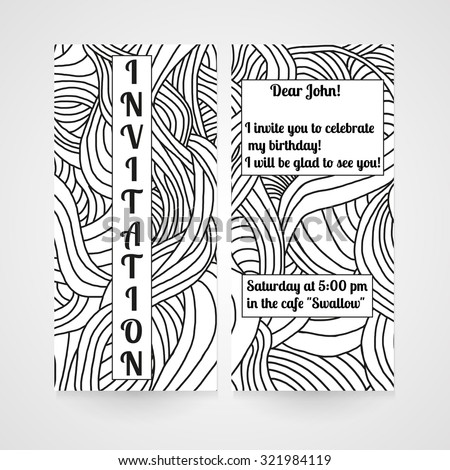 Invitation with abstract hand drawn doodle pattern. Vector illustration.
