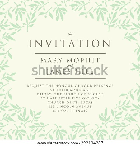 Invitation pattern olive branch template wedding stock vector invitation with pattern olive branch template wedding invitation or announcements stopboris Gallery