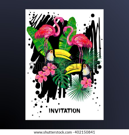 Invitation with pink flamingo, toucan bird, tropical exotic flowers and leaves. Tropical Floral Frame. Background with tropical birds. Tropical birds poster - stock vector