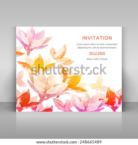 Invitation with watercolor flowers. Vector template. - stock vector