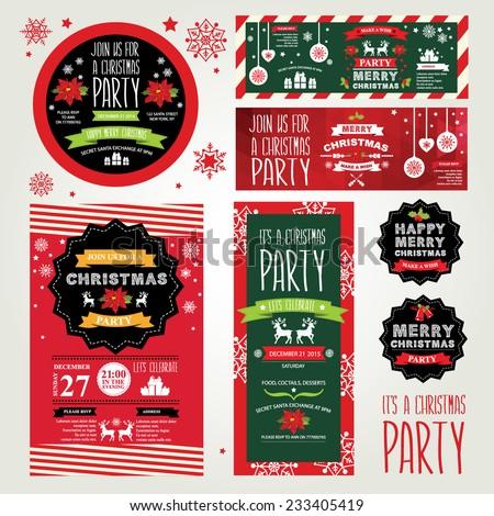 Invitations Merry Christmas. - stock vector