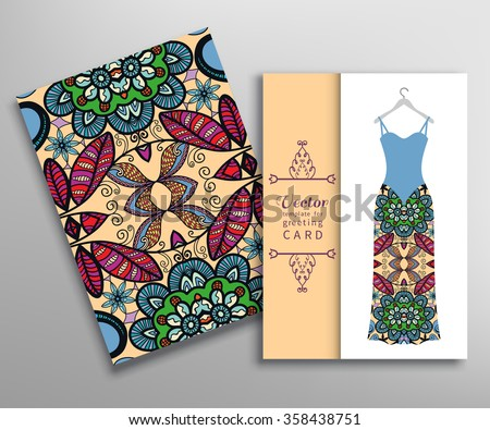 Invitations or Cards collection. Geometric floral seamless pattern with repeating texture and women's dress on a hanger. Vector fashion illustration - stock vector