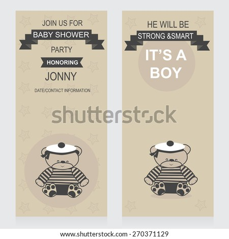 invitations template for baby shower party baby boy sailor arrival cards vector - stock vector