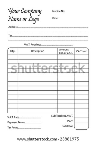 Invoice Book, Vector Illustration Of A Bill Pad Template  Book Invoice