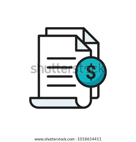invoice icon bill paid symbol tax stock vector royalty free