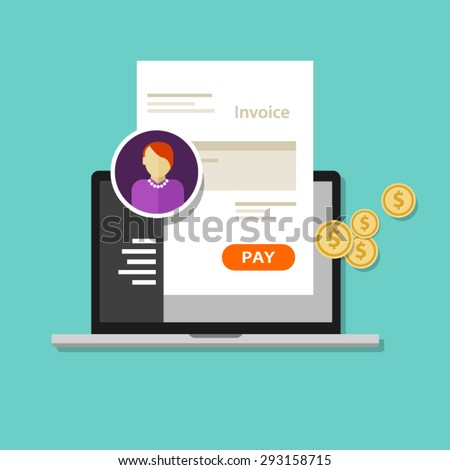invoice invoicing online service pay click laptop - stock vector
