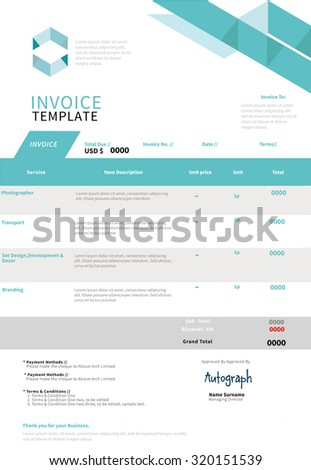 Invoice, template design