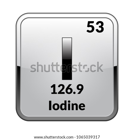 Iodine symbol chemical element periodic table on stock vector iodine symbolemical element of the periodic table on a glossy white background in a urtaz Choice Image