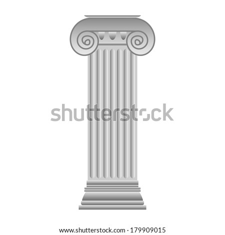 Ionic column on white background.