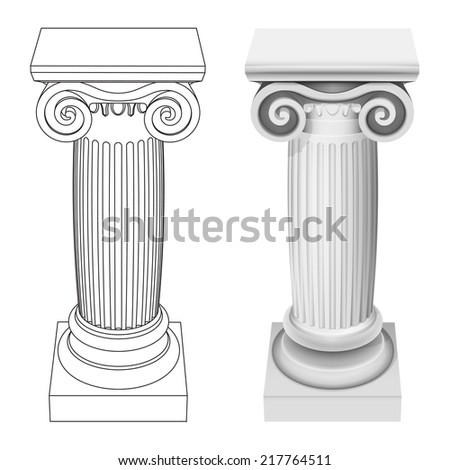 ionic column style perspective view isolated vector illustration - stock vector