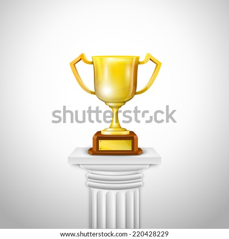 Ionic Column With Trophy Cup. Vector Illustration. - stock vector