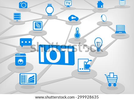 IOT (internet of everything) vector illustration. 3D connection of various objects and devices. Blue icons on light grey background. - stock vector