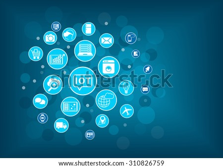 IOT internet of things concept. Blurred background with icons of connected objects and devices. - stock vector